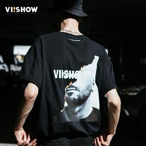 VIISHOW2018潮流T恤男 夏季新款黑色圆领宽松印花体恤男士上衣