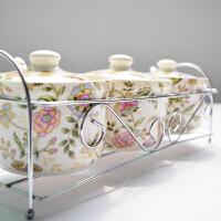 厨房家居陶瓷调味罐装盐糖3件套 带勺盖子架子密封罐调料盒套装