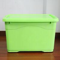特大号塑料透明滑轮家用衣服玩具整理储物箱子有盖加厚