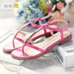 达芙妮集团 鞋柜罗马鞋漆皮时尚t型平底女凉鞋