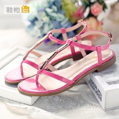 达芙妮旗下SHOEBOX/鞋柜罗马鞋漆皮时尚t型平底女凉鞋