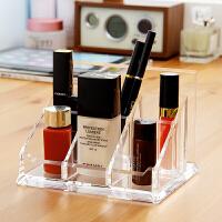 欧润哲 台湾制开合式多功通亚克力六格收纳架 桌面收纳盒唇膏化妆品整理盒