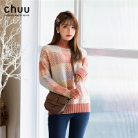 chuu冬季毛衣女加厚2019新款宽松高领韩版套头格子打底针织衫学生