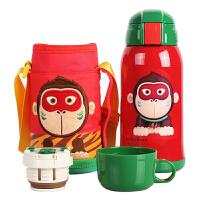 【当当自营】杯具熊(BEDDYBEAR) 儿童保温杯带吸管儿童水杯不锈钢宝宝儿童保温壶学生水杯630ml 红色小猴