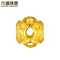 六福珠宝莲花黄金转运珠路路通DIY串珠手绳 GDGTBP0012