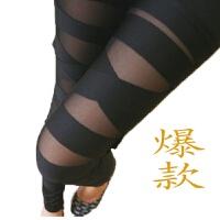 2018夏牛奶丝网纱个性性感拼接打底裤女韩版薄款绑带九分裤 黑色