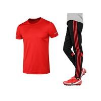 运动服饰夏季新款运动休闲套装男士跑步健身运动服 吸汗速干短袖长裤