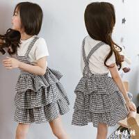 韩版童装女童背心裙纯棉夏季2018新款格子蛋糕裙子儿童洋气连衣裙
