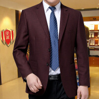 中年男装羊毛料西服中老年男士休闲西装宽松大码外套单西 酒红色 3625