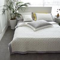 棉水洗棉绗缝床盖三件套 撞色盖毯夏被床单多功能床盖
