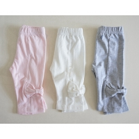 多点俏皮也可以 大大的蝴蝶结女童七分裤 棉质修身夏拼接打底裤