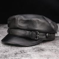 秋冬季真皮帽子男女中青年韩版平顶帽牛皮军帽鸭舌潮学生海军单帽