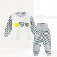 0岁1女宝宝三层保暖内衣套装2婴儿睡衣高腰男儿童秋衣纯棉加厚冬3