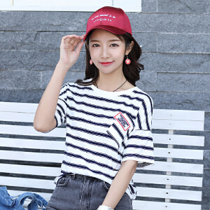 AGECENTRE 2018春夏装新款短袖T恤女装条纹宽松韩版显瘦学生韩范短袖
