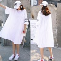 夏季特大版宽松中长大码女装胖妹妹加肥白色短袖t恤裙A型连衣长裙
