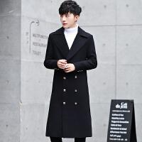 毛呢大衣中长款春秋季韩版修身潮流翻领呢子外套青年休闲衣服 黑色 M