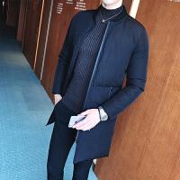 冬季外套男韩版修身中长款棉衣加厚棉袄青年棒球领男士 黑色 M