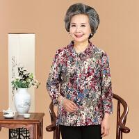中老年女装夏装妈妈T恤上衣老人衣服中短袖女60-70-80岁奶奶衬衫