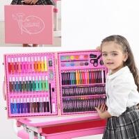 儿童水彩笔套装幼儿园画笔蜡笔小学生绘画彩色笔安全生日礼物礼品文具 150木头粉色 配画本礼袋
