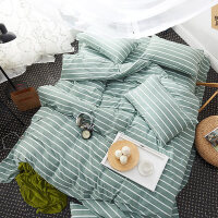 床上四件套棉棉夏季水洗棉1.8m床简约条纹格子床单被套罩1.5m