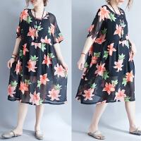 韩版加肥加大码女装夏装短袖雪纺裙胖MM宽松沙滩裙海边度假连衣裙