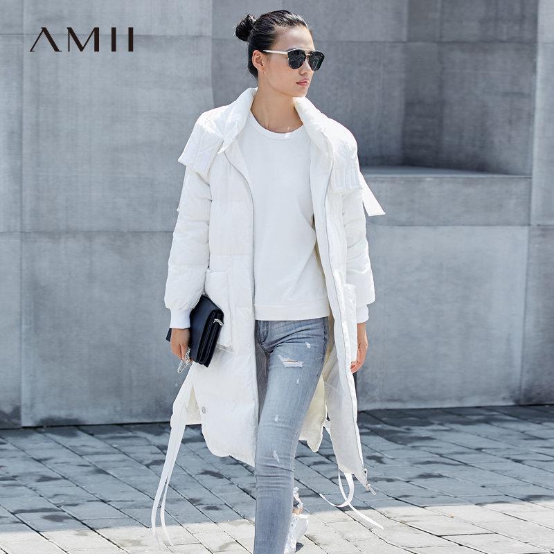 【当当19周年庆,满200减100上不封顶】Amii极简休闲90白鸭绒羽绒服女长款2018冬季新款连帽加厚保暖外套.