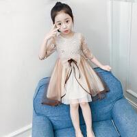 女童连衣裙夏装新款韩版女孩纱裙蕾丝公主裙洋气儿童网纱裙子