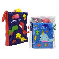 Cloth Book Fun Dino and Ocean 婴儿早教英语布书2册 恐龙和海洋动物 立体尾巴 彩色认知