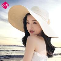沙滩帽遮阳草帽大沿帽子可折叠防晒太阳帽海边度假韩版百搭