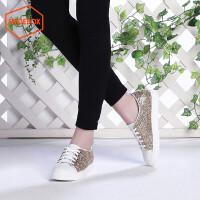 达芙妮集团 鞋柜单鞋圆头亮片女鞋 平底低跟绑带休闲鞋