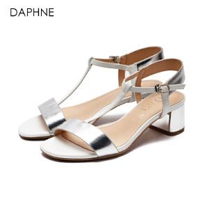 Daphne/达芙妮女鞋夏季粗跟高跟鞋一字扣露趾女罗马风凉鞋-