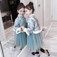 儿童套装冬季2018新款中国风旗袍网纱裙子女孩拜年服连衣裙两件套