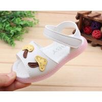 夏季婴幼儿鞋女童1-2岁3女宝宝凉鞋防滑软底公主闪灯小童沙滩凉鞋