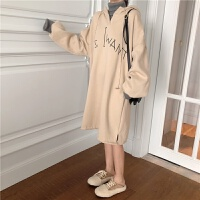 秋冬新品女装2018韩国港味chic高领拼接假两件字母中长款套头卫衣 杏色 均码