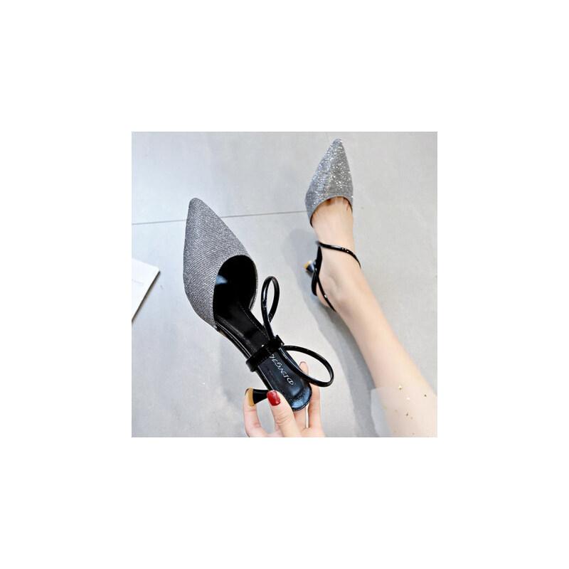 户外尖头高跟凉鞋女仙女风百搭时尚细跟配长裙穿的鞋子潮