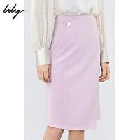 【超值一口价:151】LILY春款女装纯色通勤修身直筒包臀商务西装半身裙6921