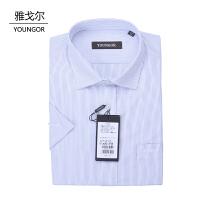 youngor/雅戈尔 新品短袖衬衣 SXP11316男士商务涤棉细条纹免熨短袖衬衣