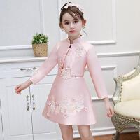 女童礼服裙长袖儿童公主裙 秋季两件套花童生日小晚礼服