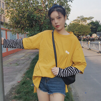 秋装女装韩版原宿风条纹袖子拼接字母宽松长袖假两件T恤学生上衣
