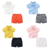 男童夏装短裤子套装婴儿短袖t恤1岁3个月4宝宝衣服