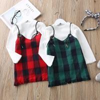 童装套装春装宝宝长袖上衣吊带裙子儿童两件套套装