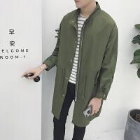 呢子大衣男长款过膝冬季外套韩版男士风衣新款毛呢大衣男青年 军绿色 S