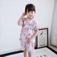 女童睡衣套装薄款春秋纯棉儿童空调服日式汗蒸服宝宝和服棉纱