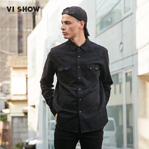 VIISHOW2017秋装新品长袖衬衫男纯棉口袋装饰男士衬衣潮牌男装