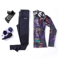 秋冬季长袖瑜珈上衣女初学者紧身健身房专业运动带胸垫瑜伽服套装