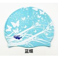 时尚硅胶印花游泳帽儿童男女通用专业防水长发护耳小孩卡通大