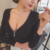 性感秋装新款女上衣春装百搭长袖V领打底衫紧身t恤潮低胸夜店女装