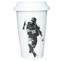 运动配饰篮球杯子科比乔丹詹姆斯 陶瓷双层杯带盖水杯马克杯咖啡杯