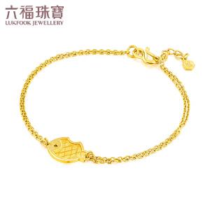 六福珠宝精灵小鱼黄金手链女款双层足金手链*   L05TBGB0001