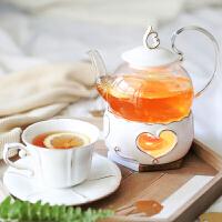欧式花茶茶具套水果耐热玻璃茶壶陶瓷蜡烛加热底座下午茶杯碟托盘 4杯4碟